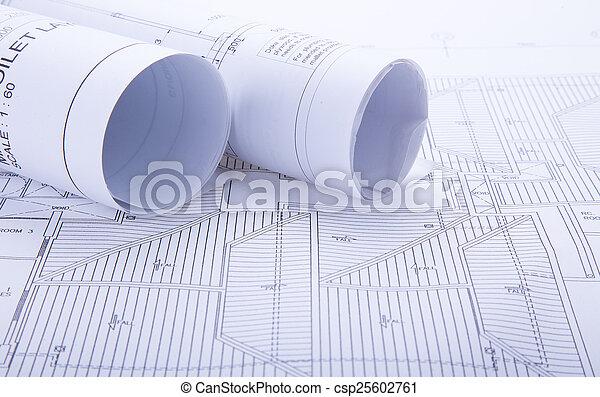 arquitecto, rollos, planes - csp25602761
