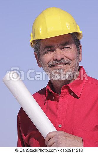 Arquitecto, contratista con sombrero duro - csp2911213
