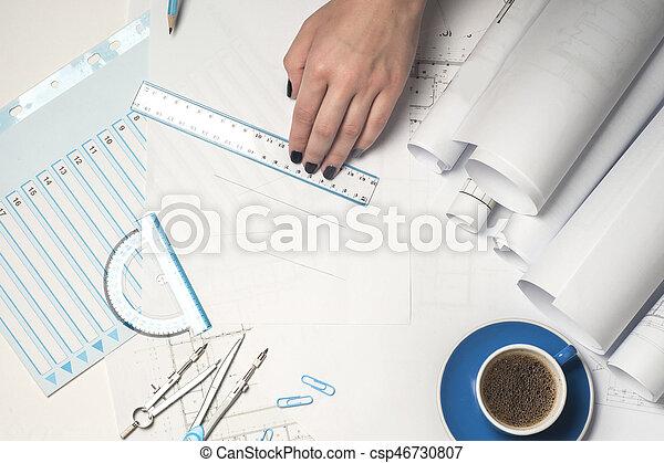 arquitecto, trabajando, blueprint. - csp46730807