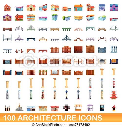 arquitectura, iconos, caricatura, 100, estilo, conjunto - csp76178492