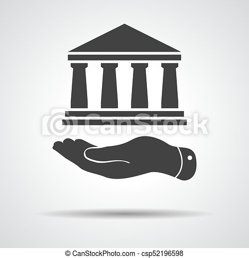 arquitectura, plano, icono, mano, presentación, banco - csp52196598