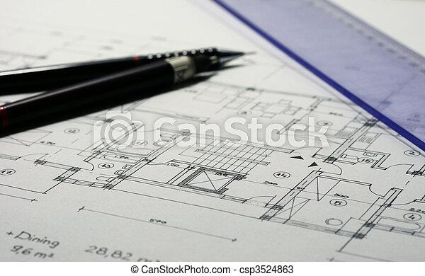 arquitetura, planos - csp3524863