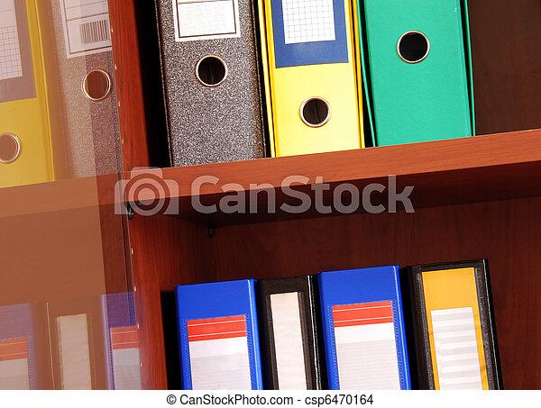 arquivos, prateleira, coloridos, escritório - csp6470164