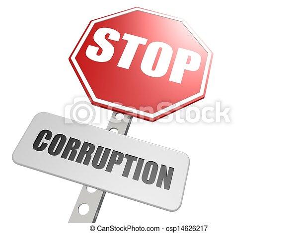 arrêt, corruption, panneaux signalisations - csp14626217