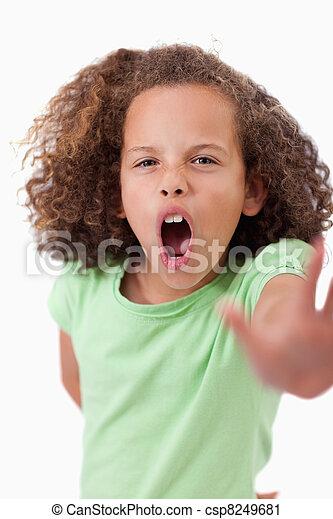 arrêt, elle, main, portrait, girl, fâché, proverbe - csp8249681