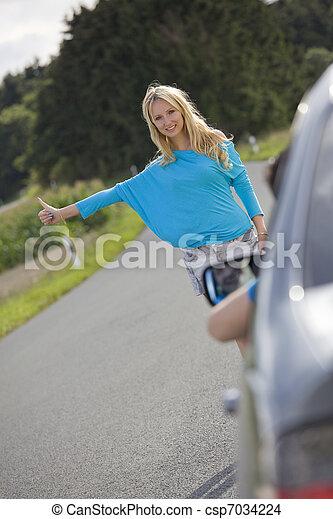 arrêt, femme voiture - csp7034224