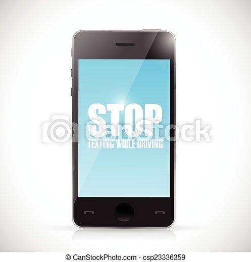 arrêt, quoique, texting, téléphone., conduite - csp23336359
