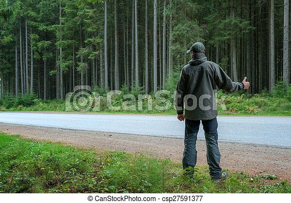 arrêt, voiture, hommes, bord route - csp27591377