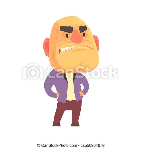 Arrabbiato calvo carattere illustrazione persona espressioni