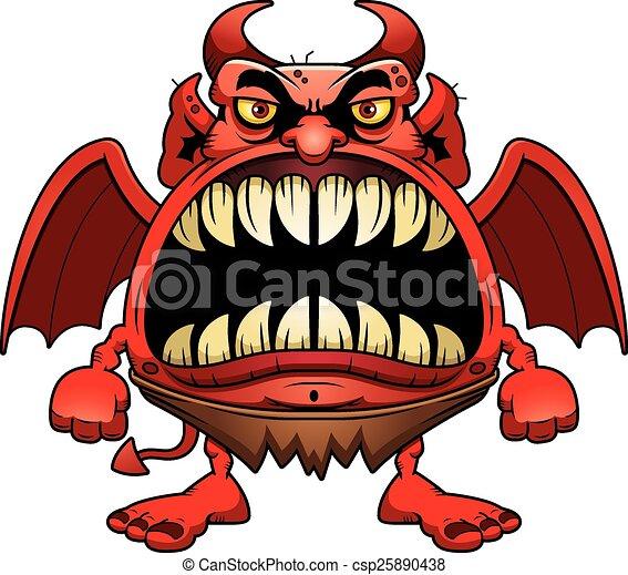 Arrabbiato diavolo cartone animato diavolo grande