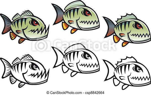 arrabbiato, fish, piranha, cartone animato - csp8842664