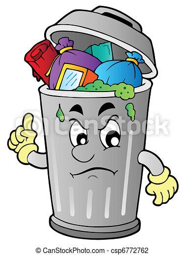 arrabbiato, rifiuti, cartone animato, lattina - csp6772762