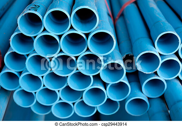 Arrange blue pipe in stock - csp29443914