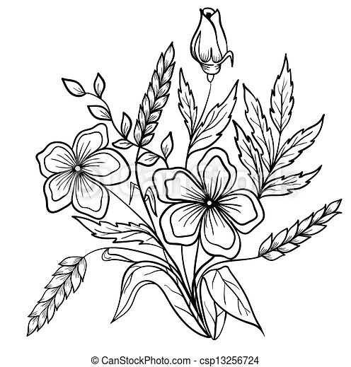 Black and white outline summer flowers black and white vector arrangement of flowers black and white outline drawing of lines mightylinksfo Image collections