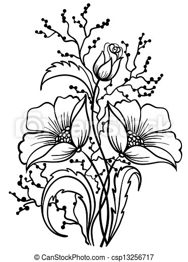 Arrangement of flowers black and white outline drawing of lines csp13256717