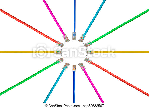 arrangement of isolated cat5 cables to illustrate internet rh canstockphoto com