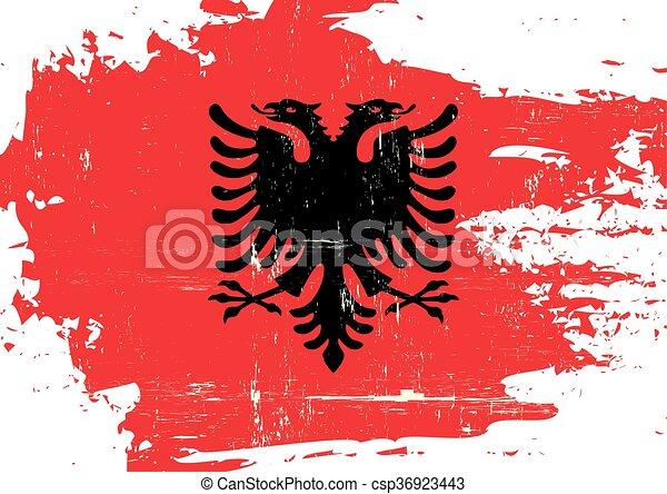 arranhado, bandeira, albânia - csp36923443