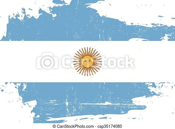 arranhado, bandeira, argentin - csp35174080