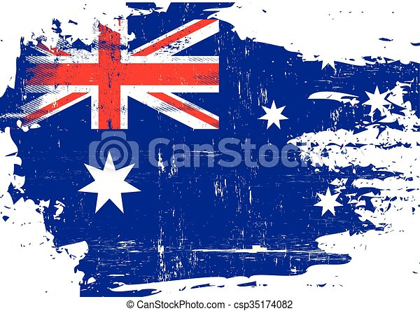 arranhado, bandeira australiana - csp35174082