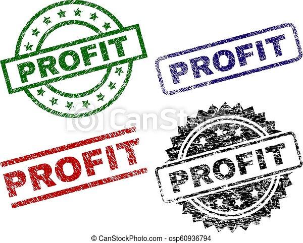 arranhado, lucro, textured, selo, selos - csp60936794
