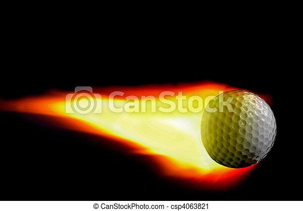 Bola de golf con llama en negro - csp4063821
