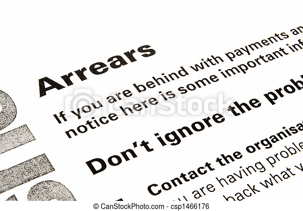 Arrears Warning And Advice Letter Section Of A Letter  Stock