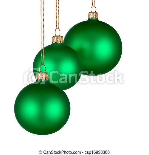 Un arreglo navideño con adornos verdes - csp16938388