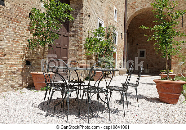 arrière-cour, meubles, jardin, italien