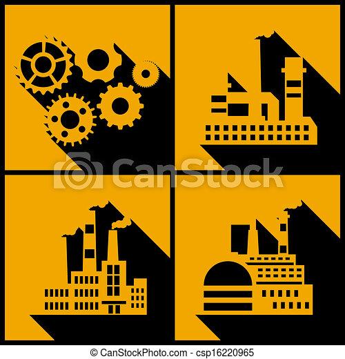 arrière-plan., bâtiments, industriel, usine - csp16220965