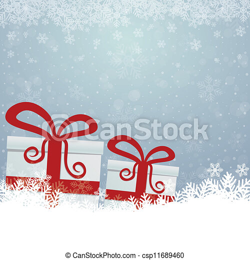 arrière-plan bleu, cadeau, neige, étoiles, blanc - csp11689460