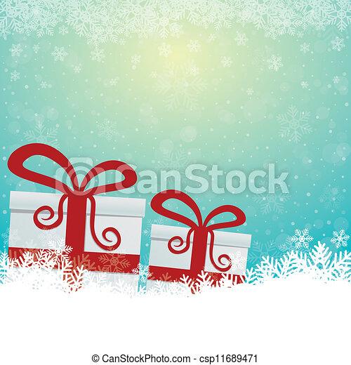 arrière-plan bleu, cadeau, neige, étoiles, blanc - csp11689471