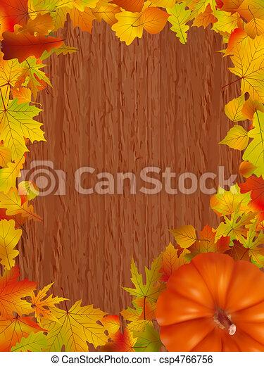 arrière-plan., feuilles, bois, potirons, automne - csp4766756