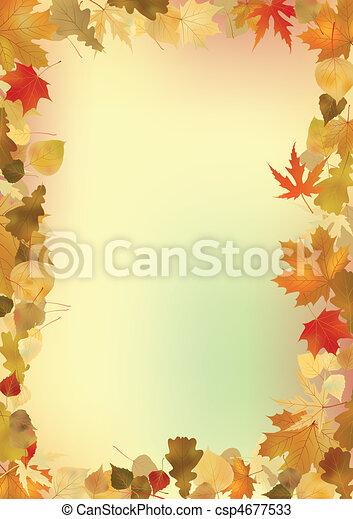 arrière-plan., feuilles, cadre, copyspace, automne - csp4677533