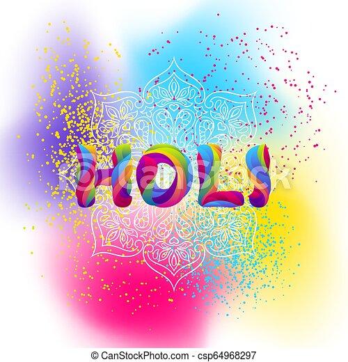 arrière-plan., holi, coloré, heureux - csp64968297