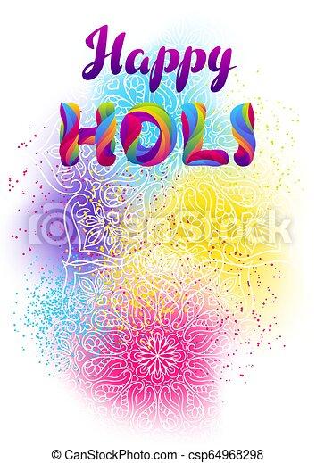 arrière-plan., holi, coloré, heureux - csp64968298