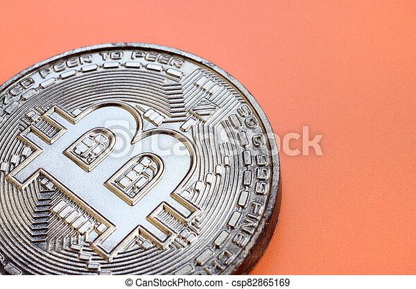 arrière-plan., modèle, produit, monnaie, bitcoin, chocolat, plastique, comestible, orange, crypto, physique, mensonges, formulaire - csp82865169