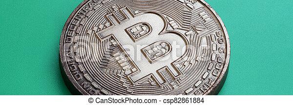 arrière-plan., modèle, produit, monnaie, bitcoin, chocolat, plastique, comestible, crypto, vert, physique, mensonges, formulaire - csp82861884