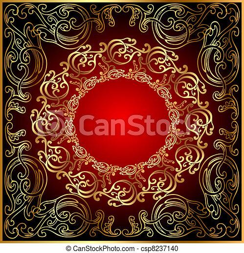 arrière-plan noir, gold(en), rouges, ornement - csp8237140
