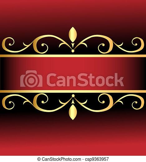 arrière-plan rouge, or, ornements, orné - csp9363957