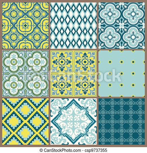 arrière-plans, -, seamless, collection, vecteur, conception, vendange, carreau, album - csp9737355