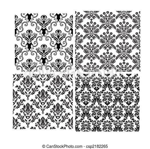 arrière-plans, seamless, damassé, ensemble - csp2182265