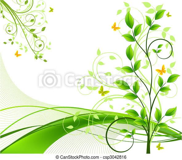 arrière-plans, vecteur, floral, résumé - csp3042816