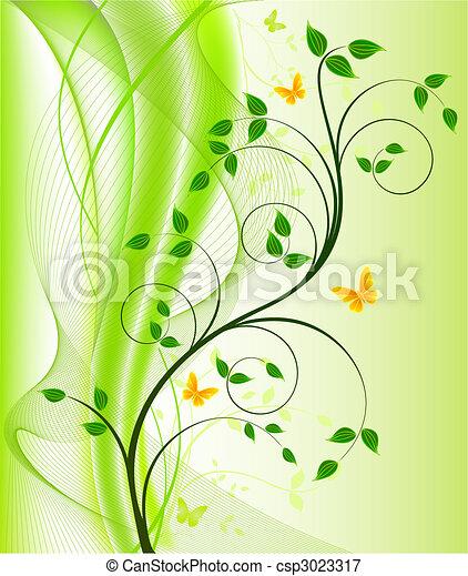 arrière-plans, vecteur, floral, résumé - csp3023317