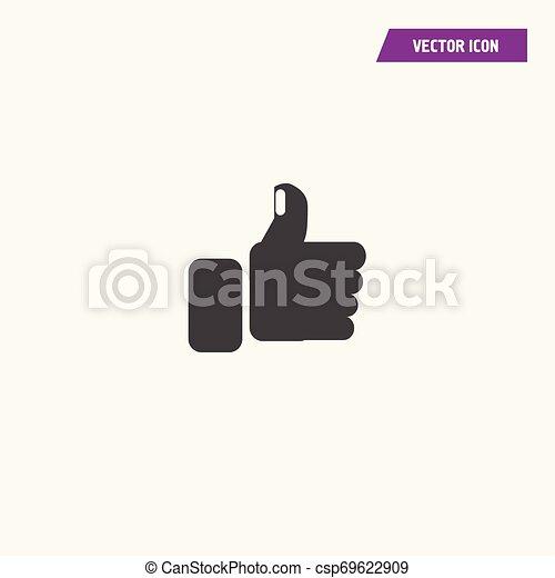 Pulgares Negros arriba, como icono con uñas blancas. - csp69622909