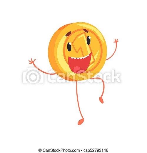 Una alegre moneda de oro saltando con las manos en alto. Un personaje de dibujos animados con piernas y brazos. Un icono de un centavo en estilo plano. Ilustración vectorial aislada - csp52793146