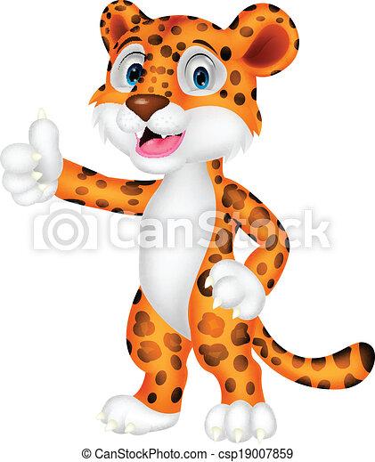 Dibujos de leopardo con el pulgar arriba - csp19007859