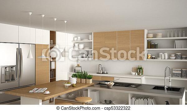 Cocina moderna de madera con detalles de madera, de cerca ...