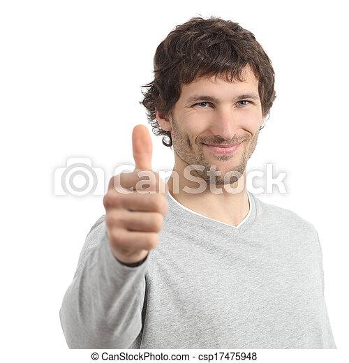 Un adulto atractivo está de acuerdo con el pulgar arriba - csp17475948