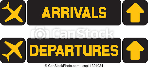arrival and departures airport signs information panel on the
