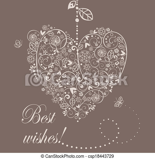 Arrival pastel card with hanging lacy heart - csp18443729
